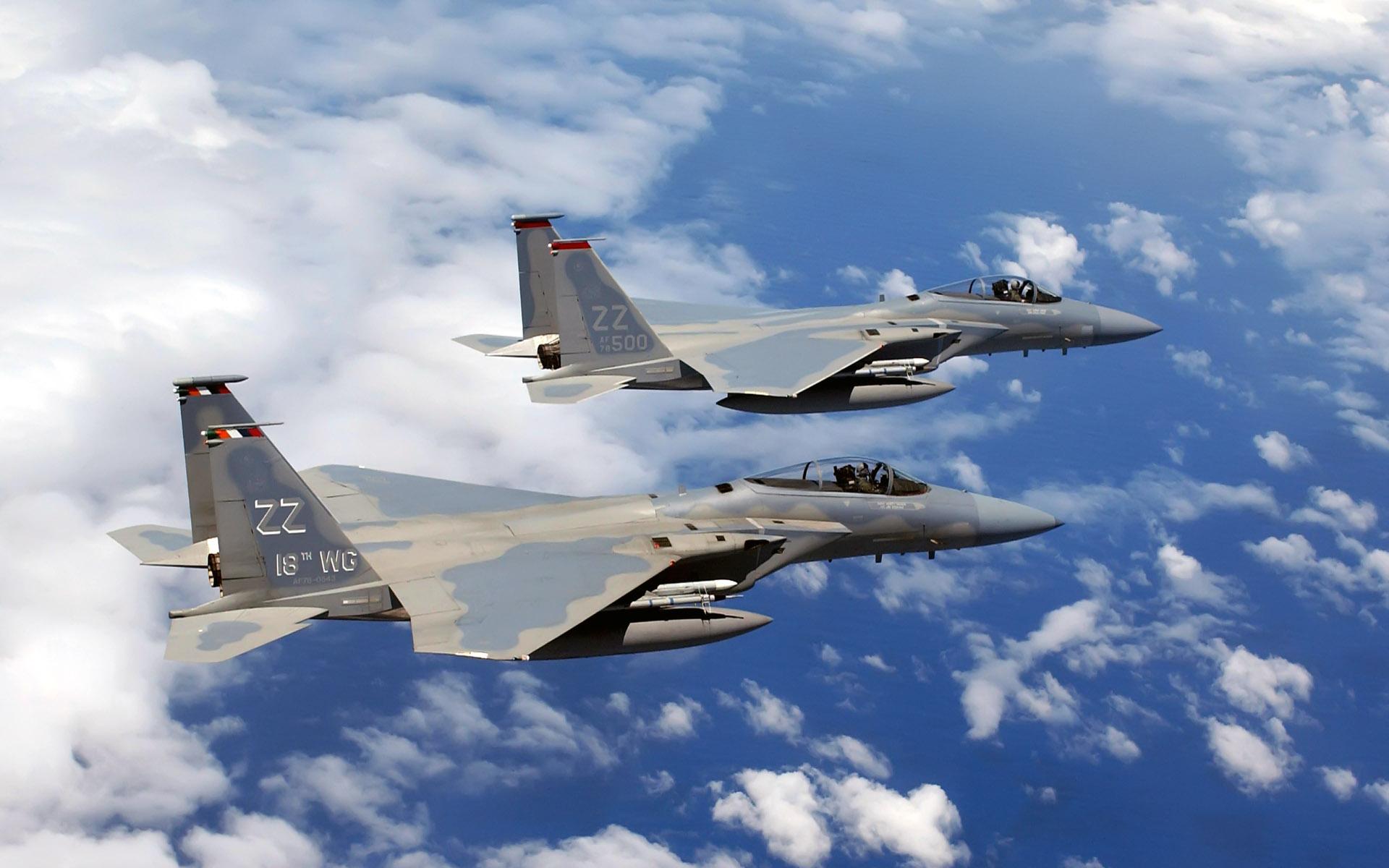 f 15 c eagles flies over okinawa wide